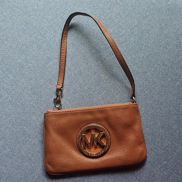 Michael Kors brown leather logo pouch clutch bag